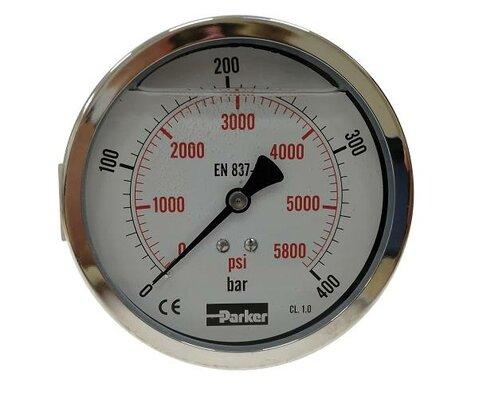 Tlakoměr pr. 100 mm, 0-400 bar, se zadním připojením - G1/2