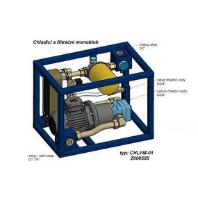 Chladící a filtrační monoblok CHVALIS, Q=40l/min, Pm=6bar, Pp=0,75kW - Z008585