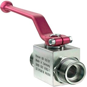 Dvoucestný kulový kohout KH, 2/2, ocelový, připojení EO24° - M12x1,5