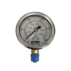 Manometr Parker pr. 63 mm, 0-250 bar, se spodním připojením - G1/4